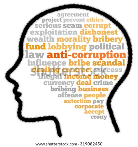 Anti-corruption in word cloud concept - stock photo