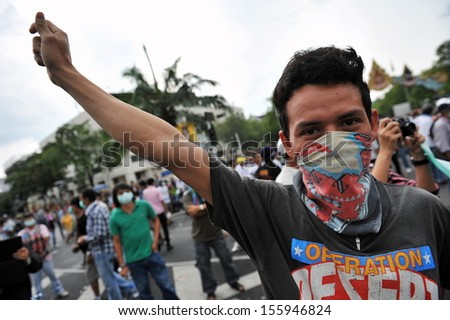 anti-government rally on Nov 24, 2012 in Bangkok, Thailand. Violent clashes with police erupted during the rally.  - stock photo
