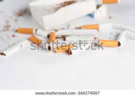 Anti-smoking background with broken cigarettes