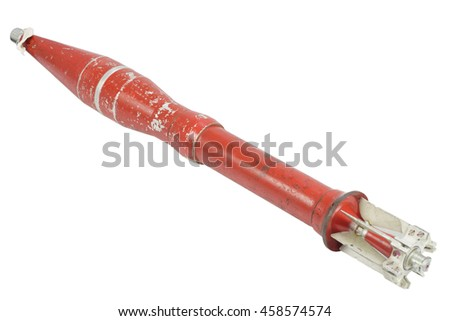 anti tank recoilless gun projectile isolated - stock photo