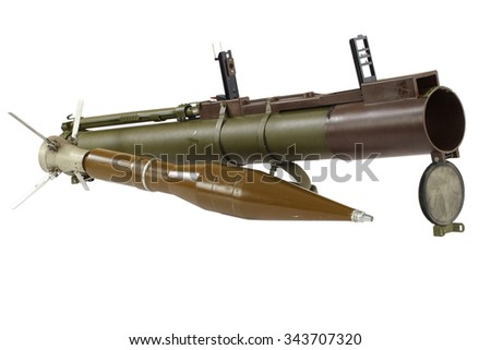 "anti-tank rocket propelled grenade launcher ""bazooka"" isolated on white - stock photo"