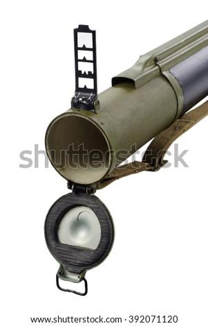 "anti-tank rocket propelled grenade launcher ""bazooka"" type isolated on white - stock photo"