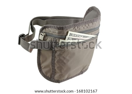 Anti theft Travel pouch, waist bag with secured zip to put money, ticket and passport, isolated on white background