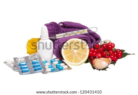 Anti-virus remedies with healthy products isolated on white background - stock photo