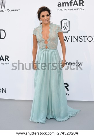 ANTIBES, FRANCE - MAY 21, 2015: Eva Longoria at the 2015 amfAR Cinema Against AIDS gala at the Hotel du Cap d'Antibes, as part of the 68th Festival de Cannes. - stock photo