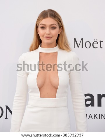 ANTIBES, FRANCE - MAY 21, 2015: Gigi Hadid at the 2015 amfAR Cinema Against AIDS gala at the Hotel du Cap d'Antibes, as part of the 68th Festival de Cannes.