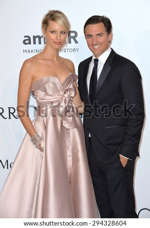 ANTIBES, FRANCE - MAY 21, 2015: Karolina Kurkova & husband Archie Drury at the 2015 amfAR Cinema Against AIDS gala at the Hotel du Cap d'Antibes, as part of the 68th Festival de Cannes. - stock photo