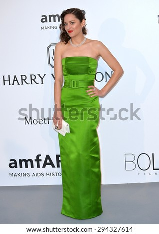 ANTIBES, FRANCE - MAY 21, 2015: Marion Cotillard at the 2015 amfAR Cinema Against AIDS gala at the Hotel du Cap d'Antibes, as part of the 68th Festival de Cannes.