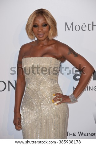ANTIBES, FRANCE - MAY 21, 2015: Mary J. Blige at the 2015 amfAR Cinema Against AIDS gala at the Hotel du Cap d'Antibes, as part of the 68th Festival de Cannes.