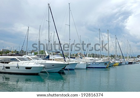 ANTIBES, FRANCE - MAY 6: Sailboats in Port Grimaldi on May 6, 2013 in Antibes, France.