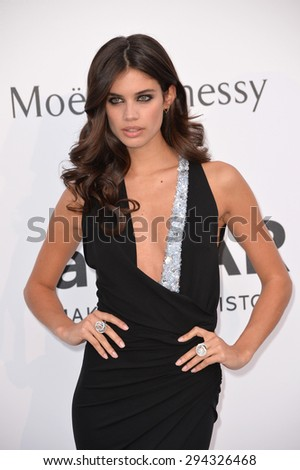 ANTIBES, FRANCE - MAY 21, 2015: Sara Sampaio at the 2015 amfAR Cinema Against AIDS gala at the Hotel du Cap d'Antibes, as part of the 68th Festival de Cannes. - stock photo