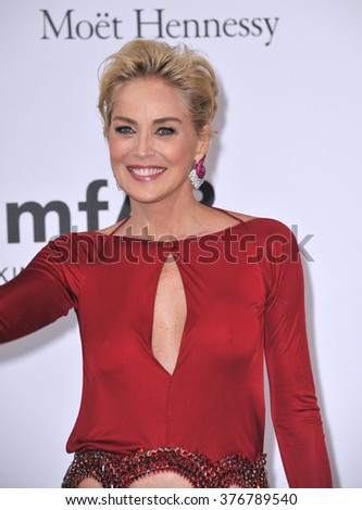 ANTIBES, FRANCE - MAY 22, 2014: Sharon Stone  at the 21st annual amfAR Cinema Against AIDS Gala at the Hotel du Cap d'Antibes. - stock photo