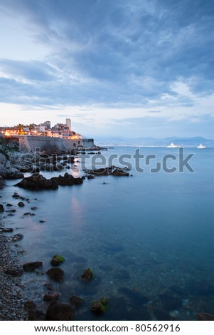 Antibes looking towards Nice on the Cote d'Azur - stock photo