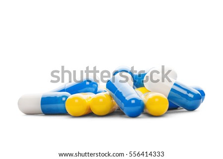 Antibiotic color pills on a isolated white background