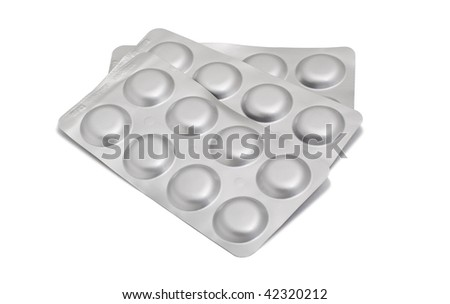 antibiotic pills in a gray blister pack, isolated on white