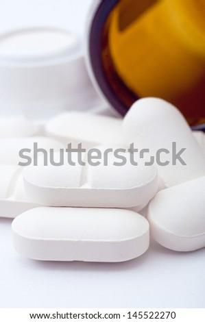 Antibiotics. Pile of antibiotics, macro shot. Healthcare and medicine background image. - stock photo