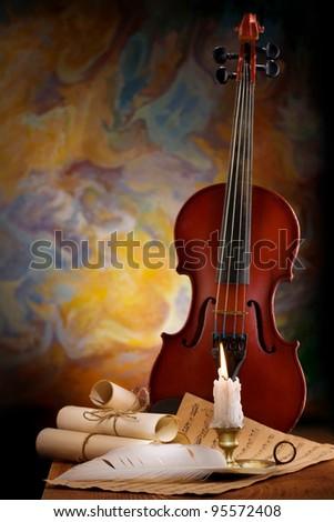 antic music background - stock photo