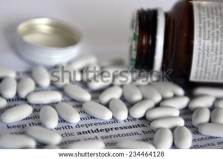 antidepressants pills - stock photo