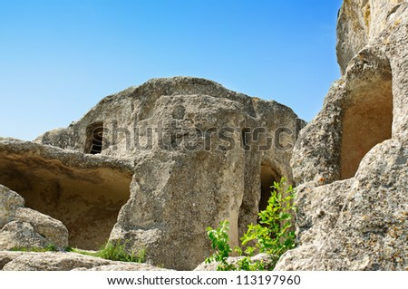 Antient  cave city Eski Kermen in Crimea mountains, Ukraine