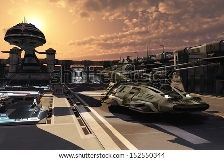 Antigravity tank moving at sunset in enclosed futuristic military base with command tower and automated defence systems