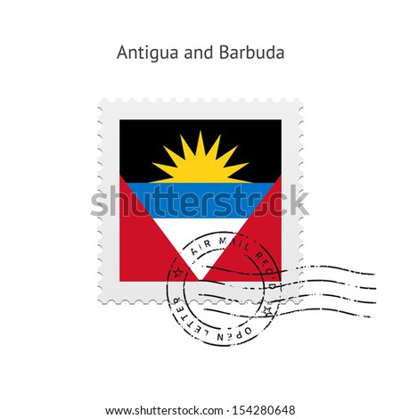 Antigua and Barbuda Flag Postage Stamp on white background. See also vector version.