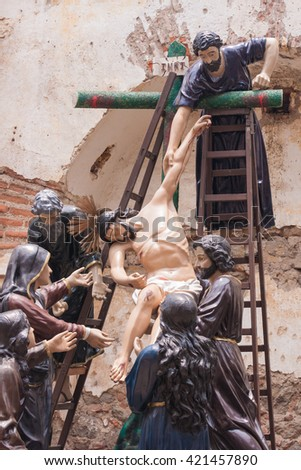 ANTIGUA, GUATEMALA - APRIL, 25, 2016: Jesus from the cross. These procession figures are being carried during the Holy Week celebrations in Antigua (and all of Latin America). Taken on April 25, 2016
