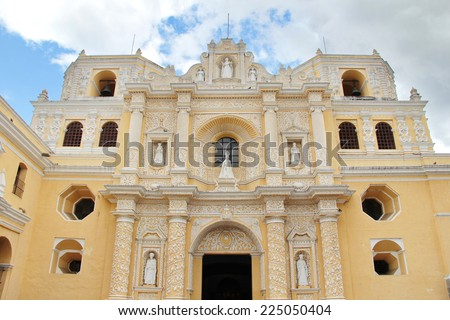Antigua, Guatemala: La Merced Church, built in 1767, following guatemaltecan baroque style. Antigua was the former colonial capital of Guatemala, and was severily damaged in 1776 by an earthquake. - stock photo