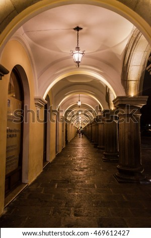 ANTIGUA, GUATEMALA - MARCH 27, 2016: Night view of the archway of Palacio de los Capitanes Generales  (Palace of the Captains General) in Antigua, Guatemala.