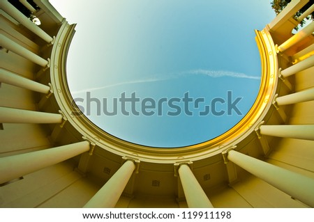 antik columns on summery day - stock photo