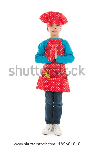 Antillean toddler boyready for cooking it all isolated over white background