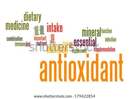 Antioxidant word cloud - stock photo