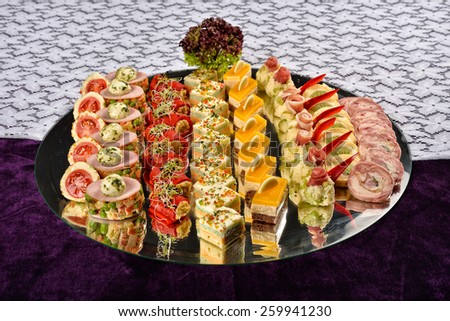 Antipasto and catering platter with different appetizers, restaurant menu - stock photo