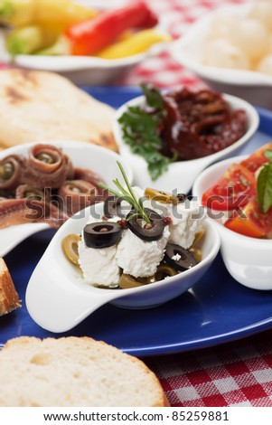 Antipasto, tapas, various appetizer food traditional in mediterranean countries - stock photo