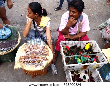 ANTIPOLO CITY, PHILIPPINES - MARCH 19, 2016: Street vendors sell duck chicks or ducklings and snacks along a street in Antipolo City, Philippines - stock photo