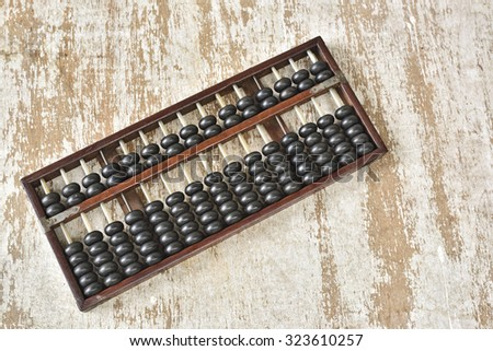 Antique abacus on wood plate