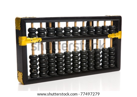 Antique Abacus with reflection on white background.