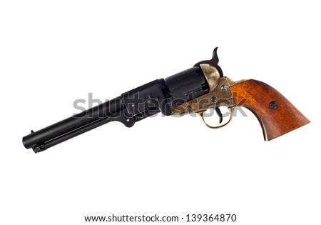 Antique american Navy percussion revolver. - stock photo