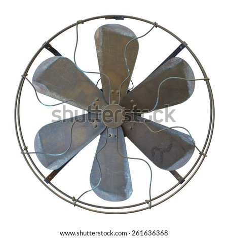 Antique and old fan isolated on the white background. Clipping path