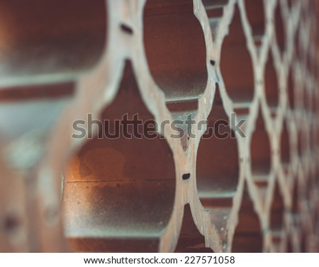 antique and old wall decoration. side view close up - stock photo