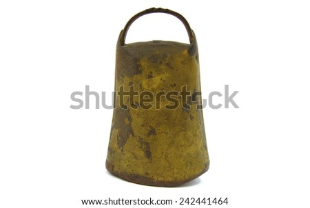 Antique and rusty cowbell on white background - stock photo