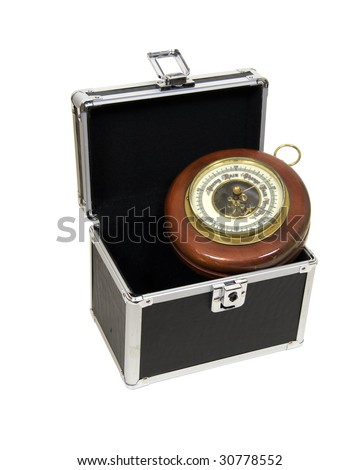 Antique aneroid barometer with mechanical levers used to measure atmospheric pressure changes in a modern case - Path included - stock photo