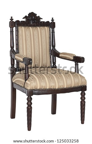 Antique armchair isolated on a white background - stock photo