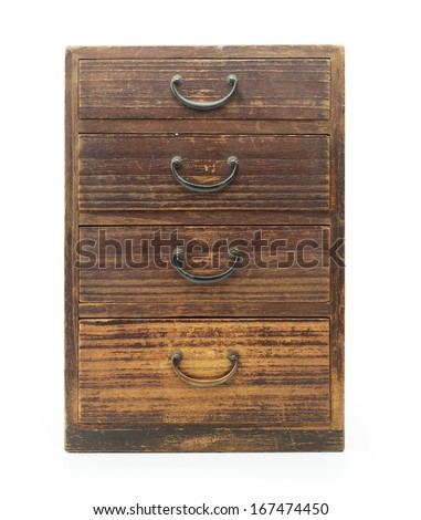 Antique asian drawer chest, made from empress wood (also known as Paulownia tomentosa, Princess Tree or Foxglove Tree). front view. Isolated on white. - stock photo