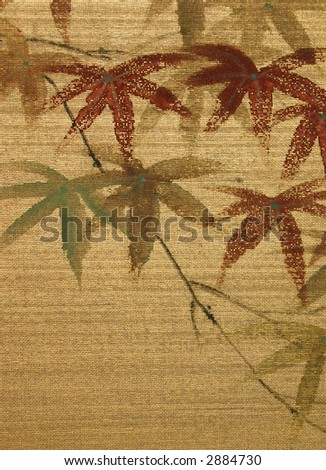 Antique Asian Silk Painting of Maple Leaves with room for Text