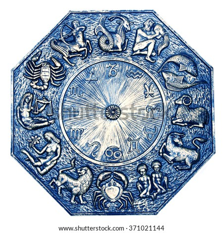 antique astrology plate with all zodiac signs - stock photo