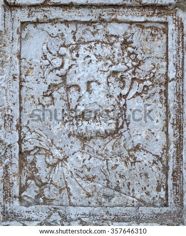 Antique Bacchus portrait sculpted in marble, in Algarve, Portugal - stock photo