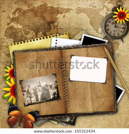antique background with the old map, open book and a clock - stock photo