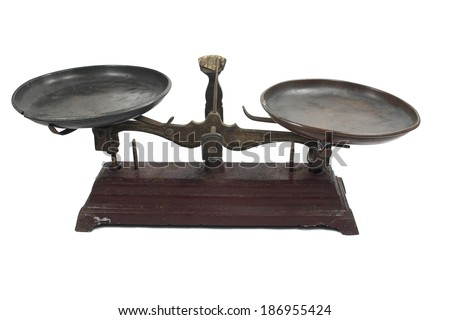 Antique balance scale with white background