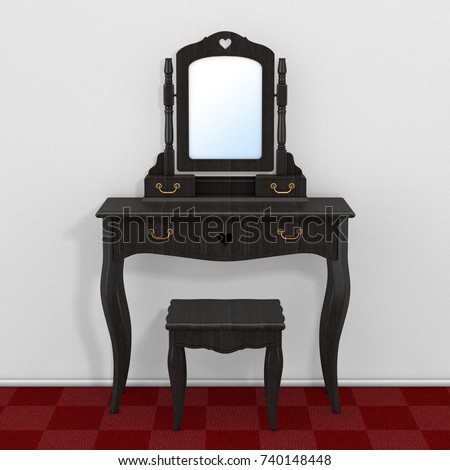 Antique Bedroom Vanity Table with Stool and Mirror in Room with Red Carpet  Floor and White - Antique Bedroom Vanity Table Stool Mirror Stock Illustration