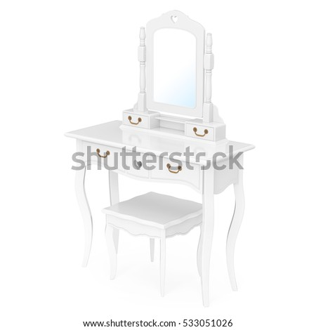 Antique Bedroom Vanity Table With Stool And Mirror On A White Background.  3d Rendering